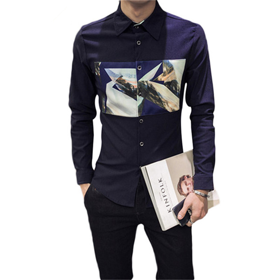 Big size new 2016 mens shirt slim fit fashion long sleeve for Mens shirts tall sizes