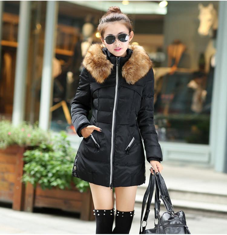 2015 New Hot Warm Jacket Women Big fur collar MD-long Coat Woman size slim Fashion Female winter outwear , YR801