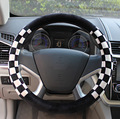 1PCS 38cm Winter Soft Plush Fur Car Steering Wheel Cover Black and White Cool Style Car