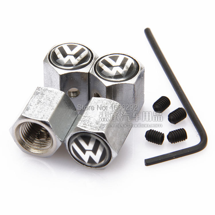 Silver 4PCS Anti-theft Style Volkswagen VW LOGO Car Badge Wheel Tire Valve Cap Tyre Dust Cap For POLO GOLF JETTA Accessorie(China (Mainland))
