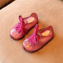 מיני מליסה מותג פעוט ילדי תחרה מזדמן נעלי ילדים ילד ילדה נעלי גומי חלולות 3 צבע אופנתי תינוק ספורט נעל(China)