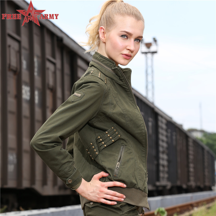 Free Army Brand 2015 Fashion Large Size Jackets Women Short Autumn Europe America Casual Slim Thin Outerwear Coats GS-8228A Z10(China (Mainland))