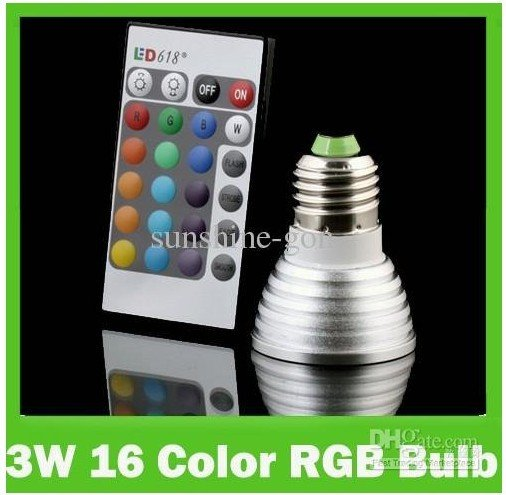 16 Color Changing E27 3W RGB LED Lights Bulbs Lamps spotlight AC 90V~240V + IR Remote Control<br><br>Aliexpress