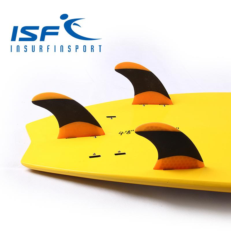 Orange FCS carbonfiber surfboard fins prancha quilhas de surf longboard paddle surfboard four Quad future center fins(China (Mainland))