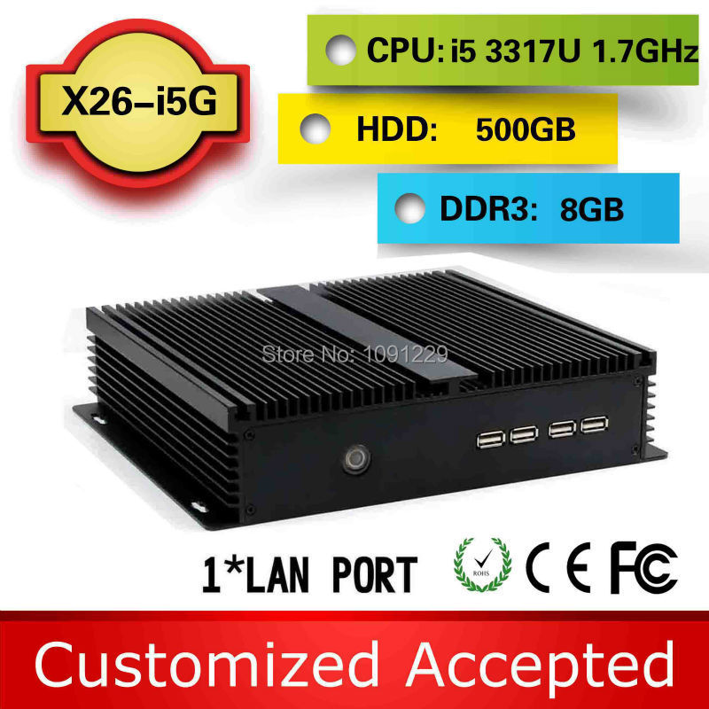 oem/odm i5 3317U Dual Core 1.8Ghz 8G RAM 500gb hdd industrial pc fanless pc i5 mini pc car Haswell design aluminum chassis(China (Mainland))
