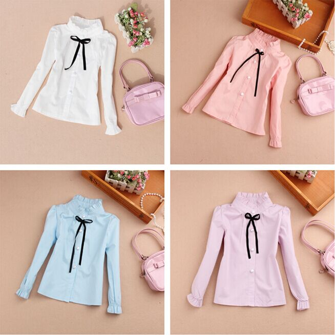 2016 Girl Blouse Children Clothing Baby Girl Clothes Cotton Child Shirt School Girl Blouse Kids Bow Shirts,5 Colors Age 2-16Y(China (Mainland))