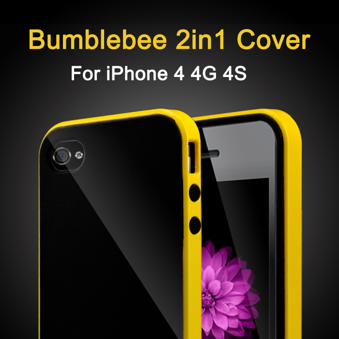 2in1 Bumblebee NEO Slim Mobile Phone 4S Cover PC+TPU Cases Luxury Silicone Hybird Bumper Case For Apple iPhone 4 4G 4S(China (Mainland))