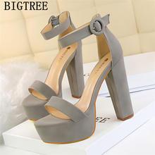 Mary Jane ayakkabı kalın topuk platform sandaletler kadınlar yüksek topuklu sandalet kadın bigtree ayakkabı 2019 seksi sandalet aşırı yüksek topuklu(China)