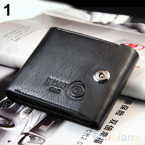 Men s Magnetic Clasp Faux Leather Bifold Card Holder Pockets Slim Purse Wallet 1T1G