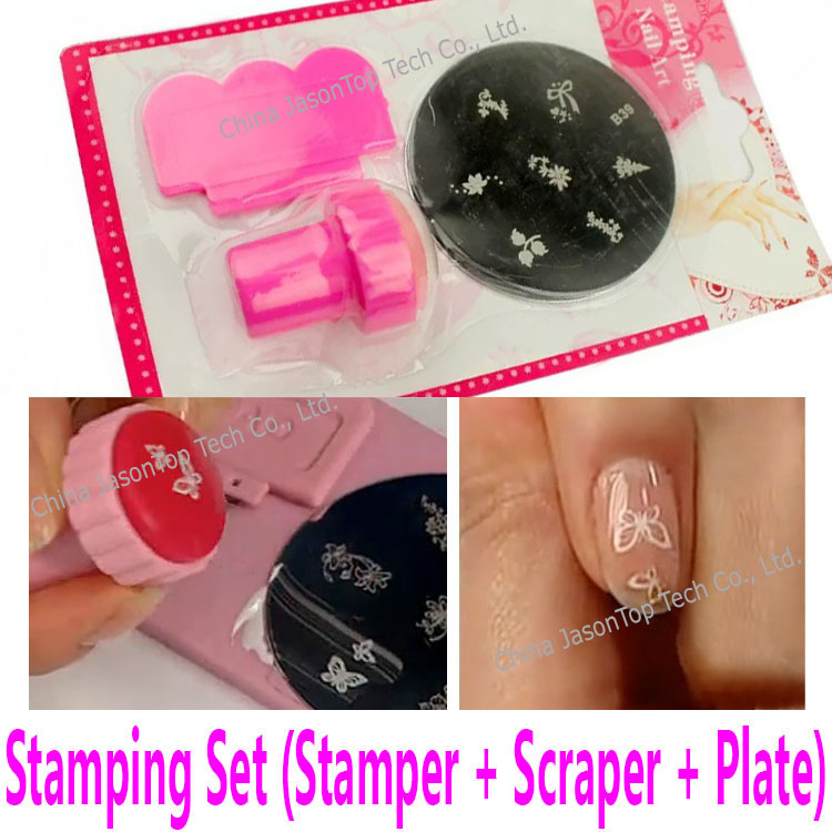 Stamping plate stamper with scraper for transfer print for Avon nail decoration tool