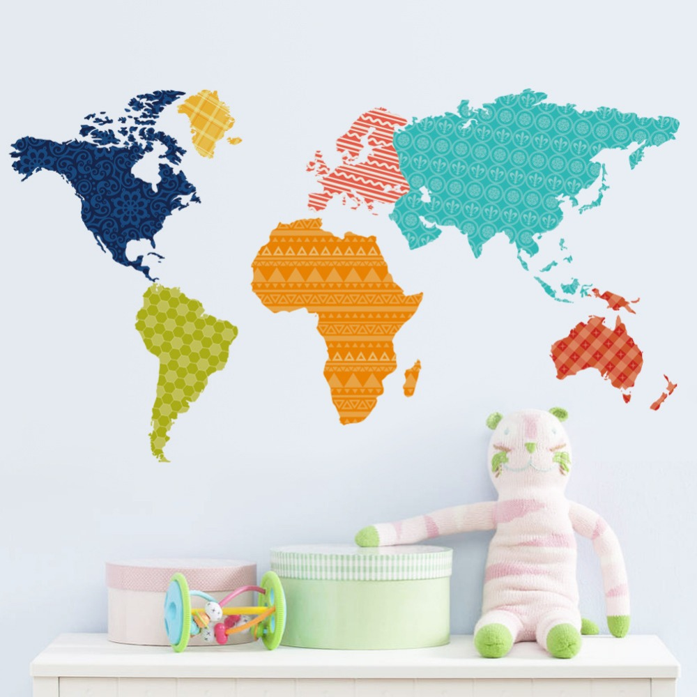 aliexpress com buy colorful world map wall sticker large vinyl wall sticker map of the world continents cutzz