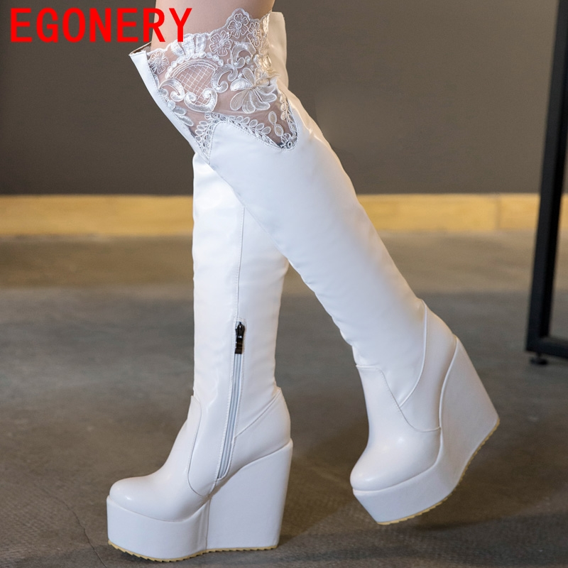 high quality girls winter boots black white knee high boots autumn winter boots round toe shoes women 4.5cm platform warm boots(China (Mainland))