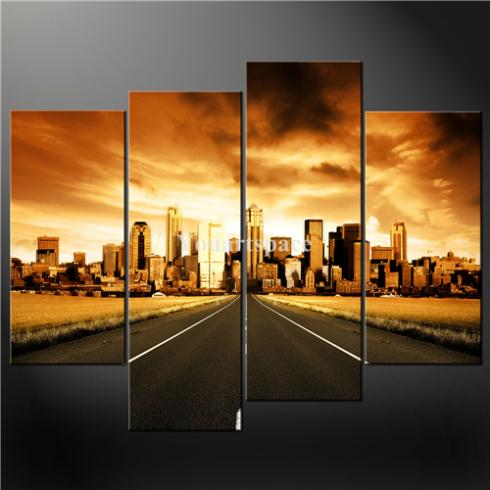 4 Piece Wall Art Painting Pictures Print Canvas Brown City Road Cascade Modern Design Picture Oil Home Decoration - Youartspace store