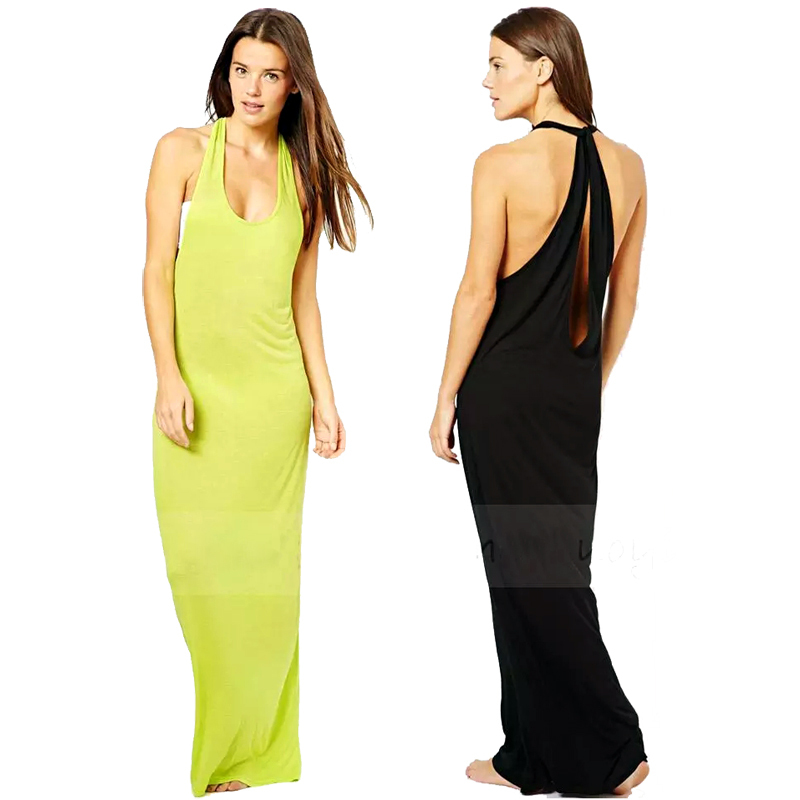 XS XXL Women Cotton Casual Beach Maxi Dress Ladies 6 Candy Colors Open Back Sexy Summer Tank Dresses Cut Out Back Long Sundress(China (Mainland))