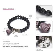 Emanco estilo étnico do vintage borla encantos estiramento pulseiras para mulheres preto pedras naturais marca moda jóias(China)