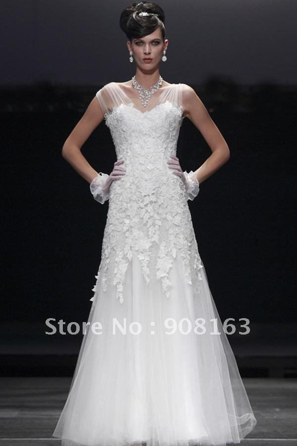 2012 sheer sleeve tulle wedding gown sheer cap sleeves on for Adding sleeves to a wedding dress