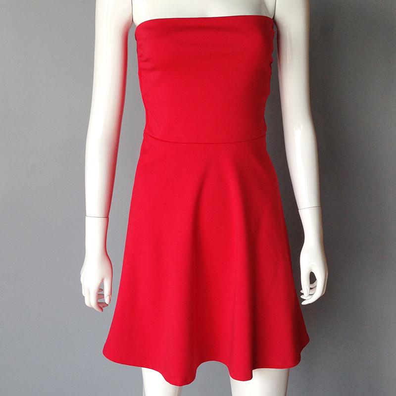 Vestidos 2016 Summer Dress Sexy Women Bodycon Strapless Chiffon Dresses Evening Party Night Club Red White Dress One Size KTD005(China (Mainland))