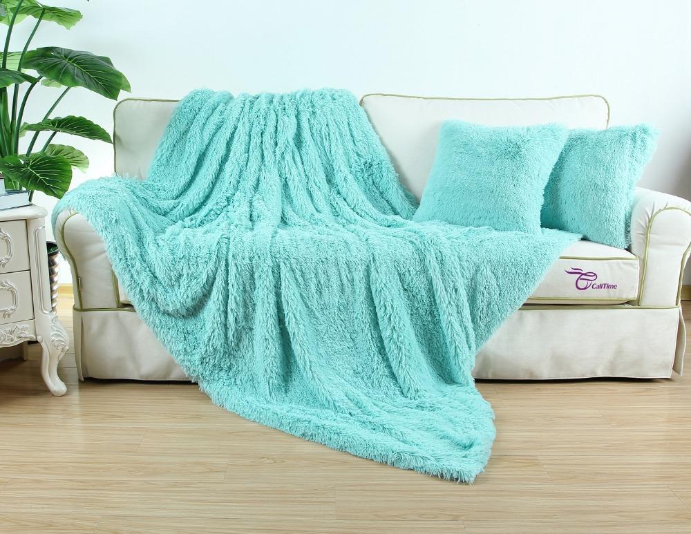 Faux Fur Super Soft Blanket 150 X 200cm Combine Cushion Cover 45cm X 45cm Throw Warm Ultra Fluffy Plush For Bed Sofa(China (Mainland))
