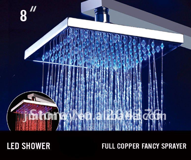 unique hydro power RGB shower room colorful brass square led rain shower<br><br>Aliexpress
