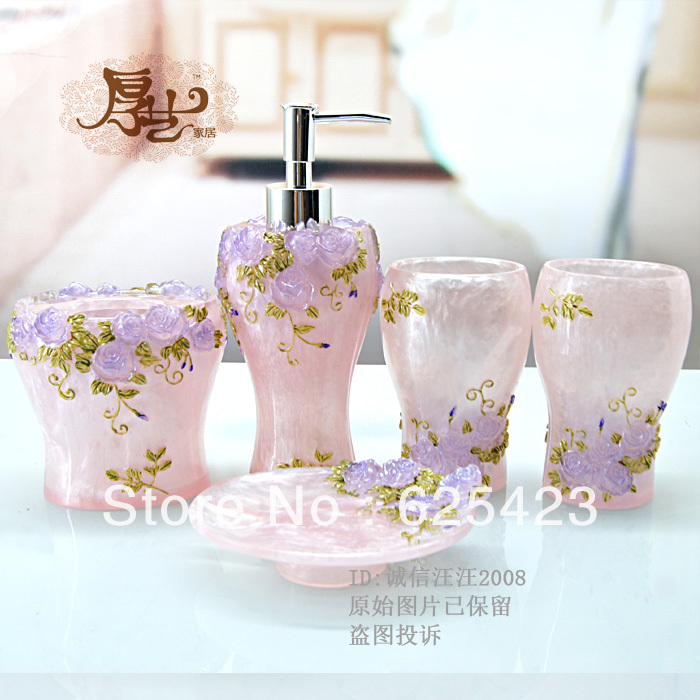 Fashion beautiful bathroom supplies resin bathroom set of for Fashion bathroom set