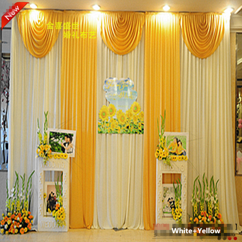 Yellow swag curtains promotion shop for promotional yellow for Background curtain decoration