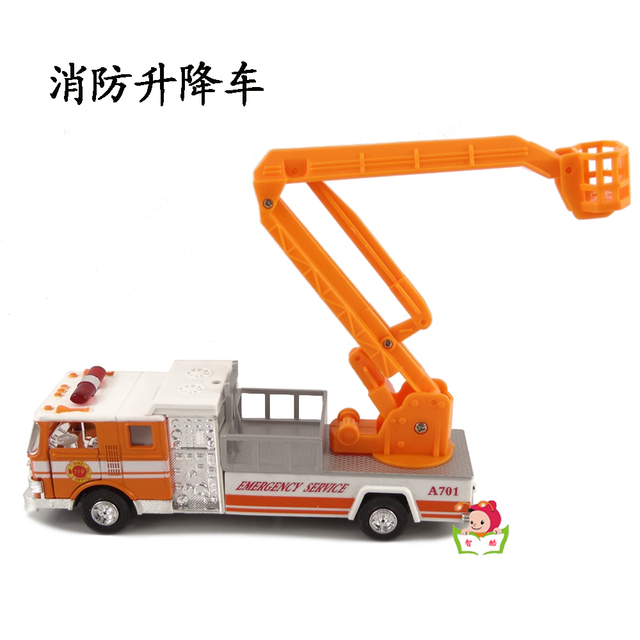 Alloy model toy car aerial ladder fire truck rescue vehicle ambulance ladder lift truck engineering car acoustooptical WARRIOR