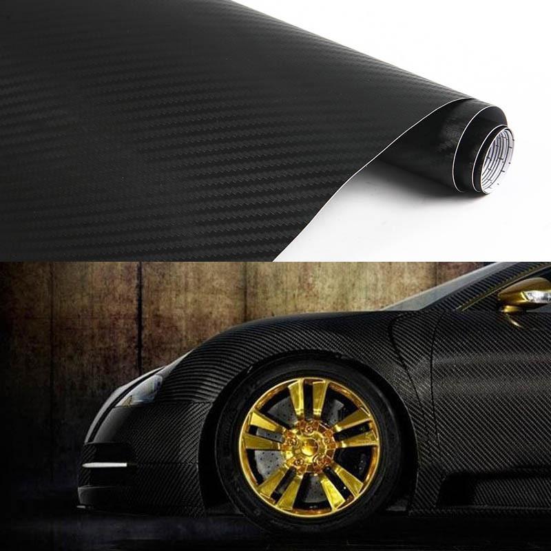 Wrap Sticker Exterior Accessories waterproof 3D Carbon Fibre Vinyl Sheet Film Paper Decal 1270mmx300mm Black L014155(China (Mainland))