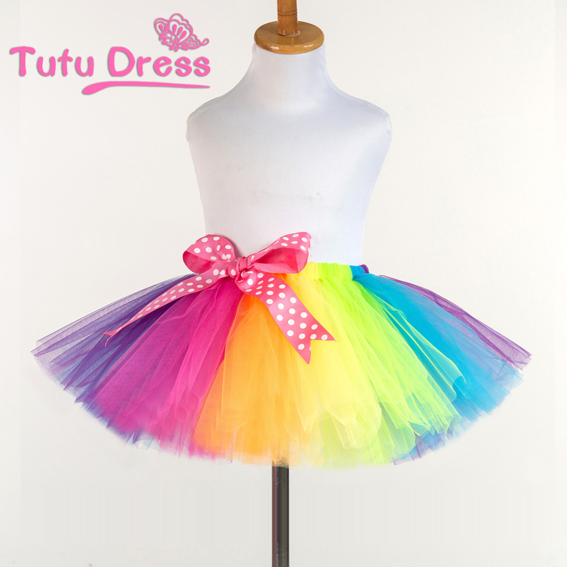 2017 New Fluffy Handmade rainbow tutu skirt colorful cheap girl skirt dance skirt