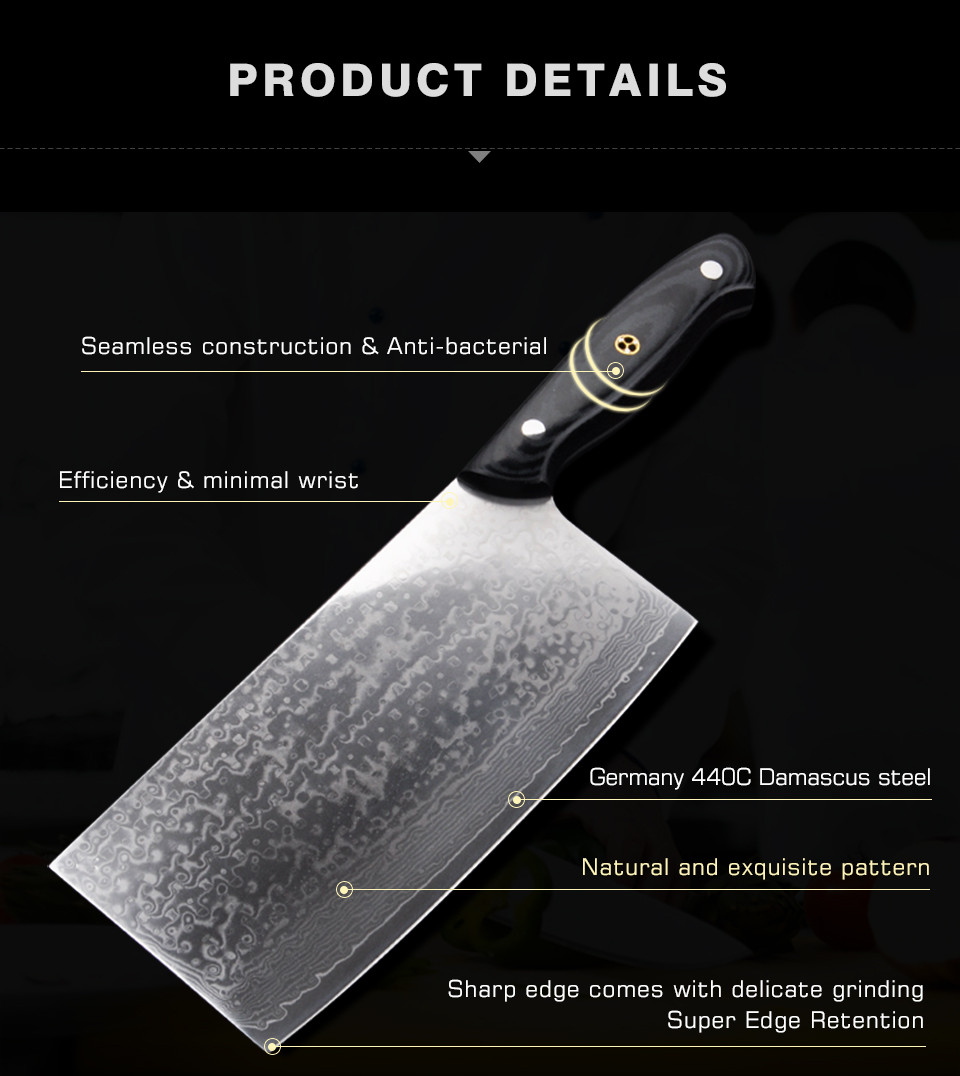 Buy Damascus Stainless Steel Knife Chop Bone Cut Meat Dual-purpose Damascus Kitchen Cleaver Slicing Knife free shipping cheap