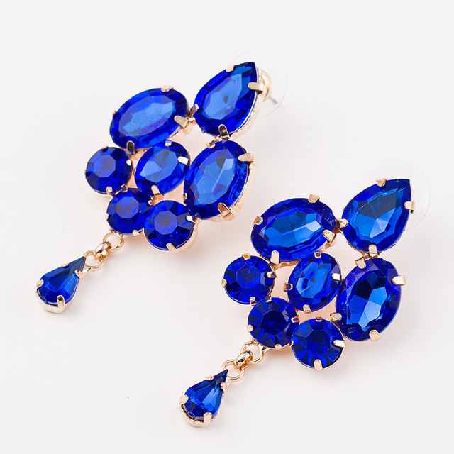 2016 Fashion jewelry blue crystal artificial gem patchwork flower ladies sexy big gold drop earrings for women #E025