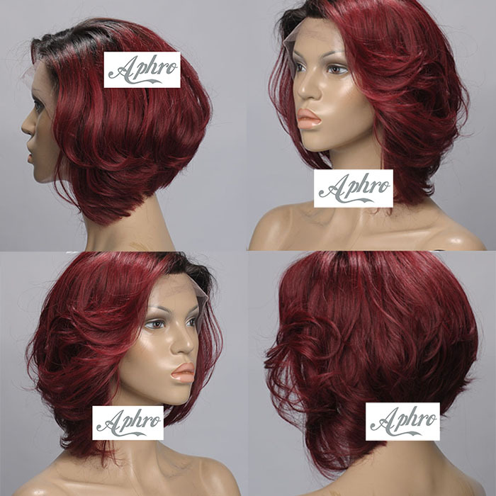 Layered Black Red Short Synthetic Hair Lace Front Wigs Dark Roots 130% density Bob Heat Resistant Full - Aphro Beauty Shop No.1 store