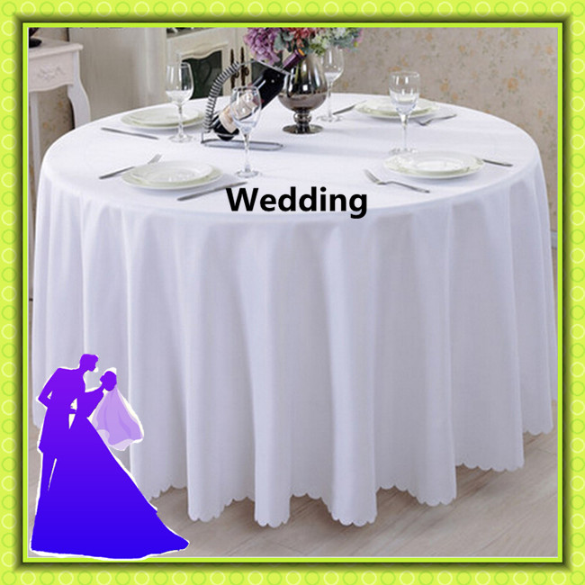 White 108'' round table cloth standard polyester wedding party free shipping decoration(China (Mainland))
