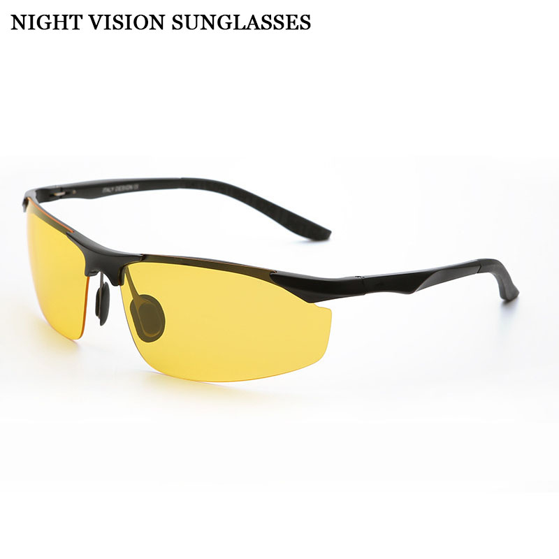 Bulk Cool Polarized Driving Sunglasses for Men Top Rated Day Night Driver Glasses Semi-rimless Alloy Frame Yellow Lenses 2206(China (Mainland))