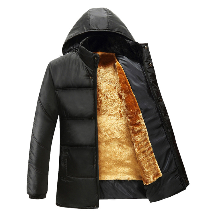 Winter Coat Men black puffer jacket warm male overcoat parka outwear cotton padded hooded down coat men's cotton jackets(China (Mainland))