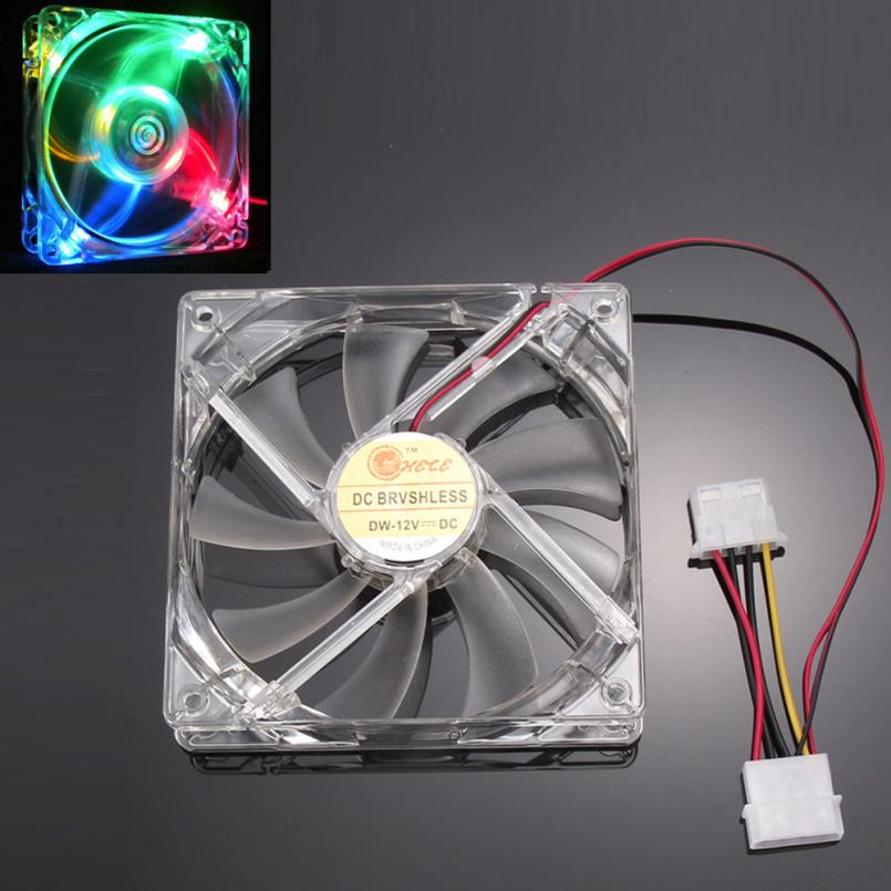 Good Sale Colorful Quad 4-LED Light Neon Clear 120mm PC Computer Case Cooling Fan Mod Free shipping May 31(China (Mainland))
