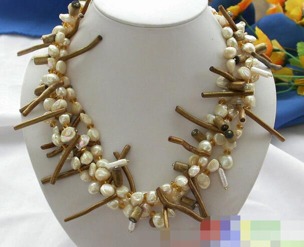 3754 3row canary BAROQUE FW PEARL golden coral NECKLACE(China (Mainland))