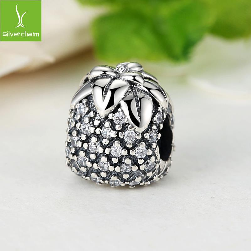 100% 925 Sterling Silver Sparkling Pineapple Charm Beads Fit Original Bracelet Pendant Authentic Jewelry(China (Mainland))