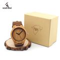 Brand Wolf Design Men s Watches with Genuine Leader Strap Best Bamboo for Men Watch Wood