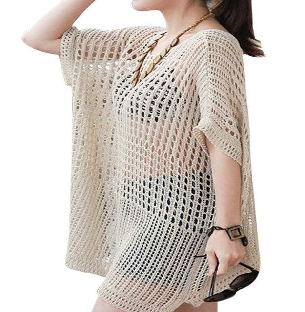 Fashion Womens Ladies Solid Pattern Dress Swimwear Cover up Knitting Beach Dr...