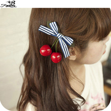 2 PCS Fashion Cute Women Girl Lady Retro Vintage Pink Bow Sweet Cherry Hair Clip Hairpins Hair Accessories b1324(China (Mainland))