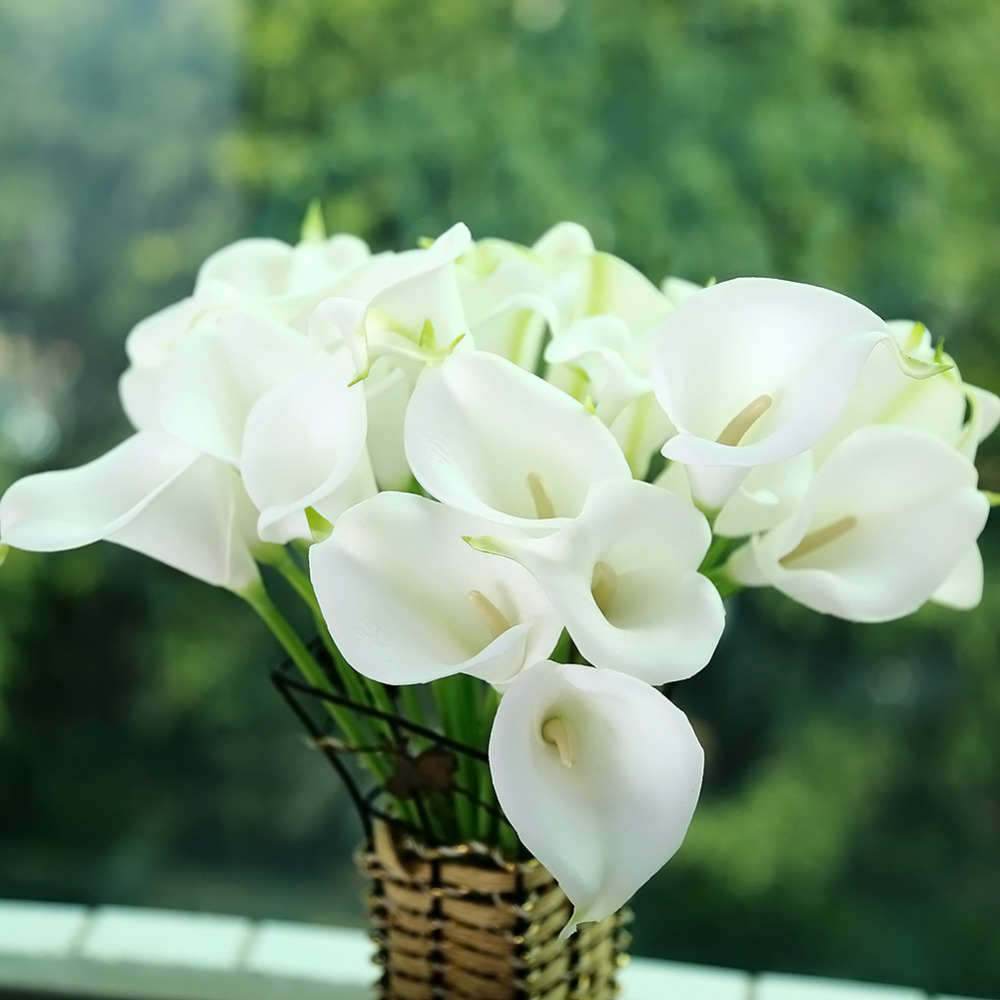 10pcs mini size pu calla lily real touch flower artificial for Artificial decoration flowers