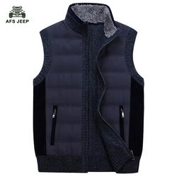 Pu Cotton New 2016 Autumn Winter Men Vest Casual Waistcoat Jacket Vests Brand Big Size L-3XL A3085