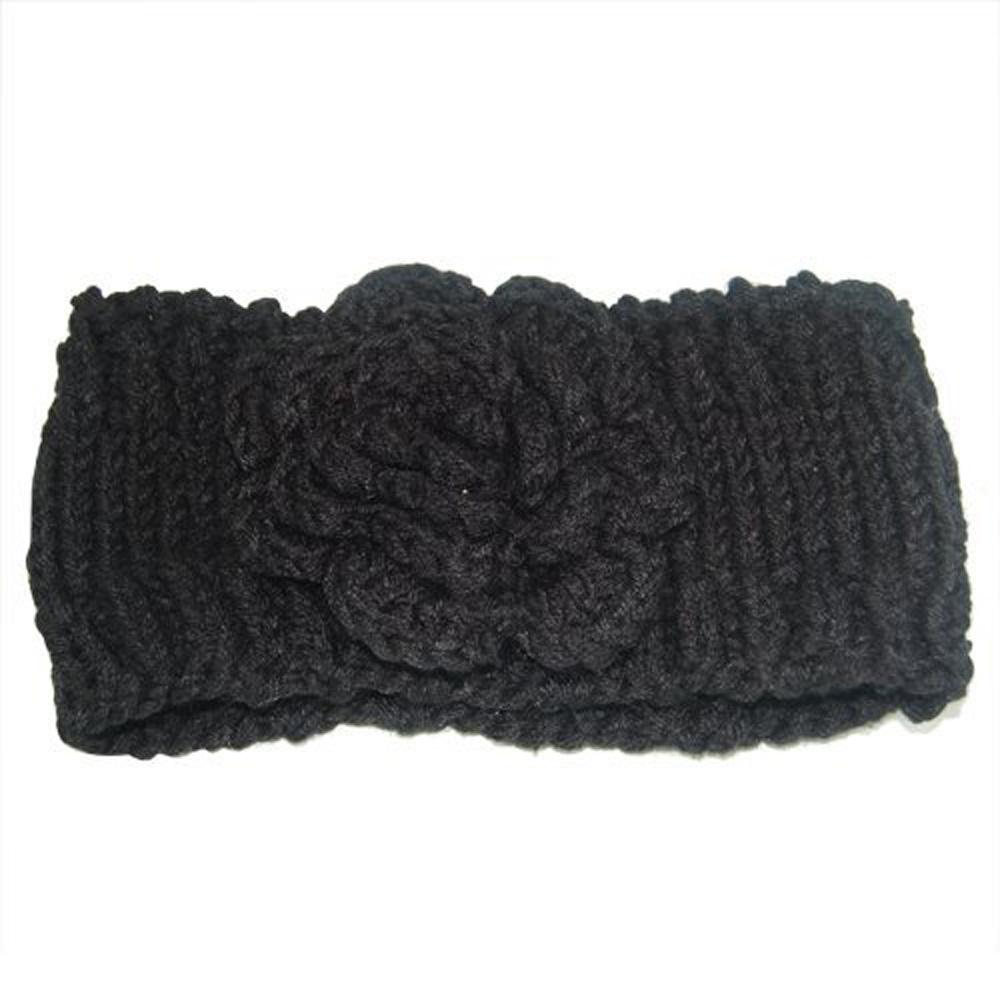 ABWE! Black Ladies Chunky Flower Head Wrap Hand Knit Head Band Ear Warmers(China (Mainland))