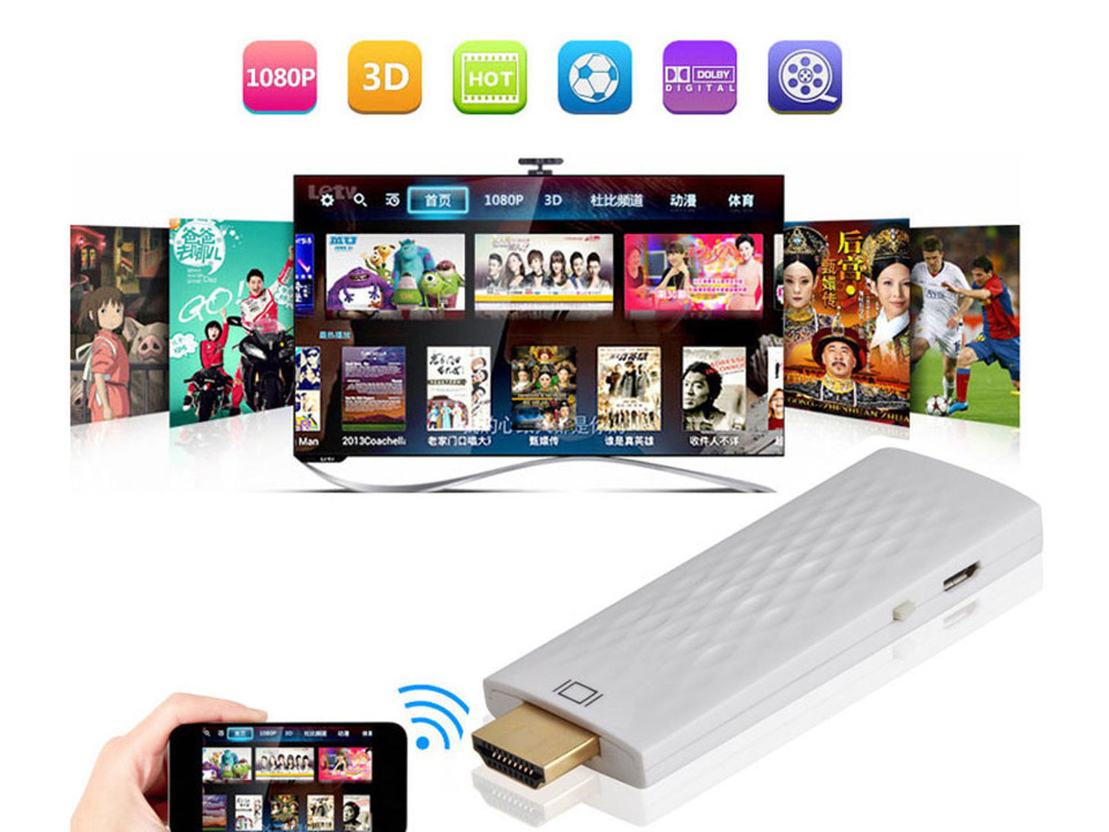 White!TV Dongle 1080P HDMI Wireless DLNA/iOS WiFi Display Adaptor for iphone6 5S/iphone 6plus/ipad/table pc and android phone(China (Mainland))