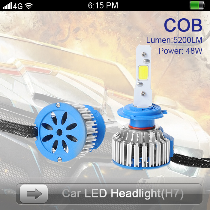 One Set Fashion Design COB LED Headlight Car H7 DC12V-24V 5200LM 48W 6000K High Power Super Bright H1/H4/H7/9005/9006 - Shenzhen Prime Digital Company Ltd. store