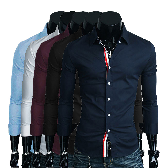 2014 new mens shirts casual slim fit long sleeve dress 2 colors Size:M-XXXL A305 - Baby Angel World Co,Ltd store