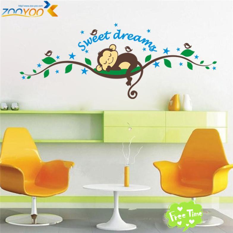 חמוד משחק קופים על העצים מדבקות קיר לילדים חדרים ZooYoo1203 דקורטיביים adesivo דה parede נשלף קיר pvc מדבקות