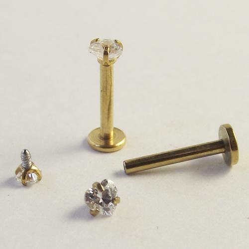 1.2 x 8 x 3 мм 16 г золотой черный титан анодированный с внутренней резьбой зубец камень губная пирсинг губы циркон лабретка кольцо козелка серьги