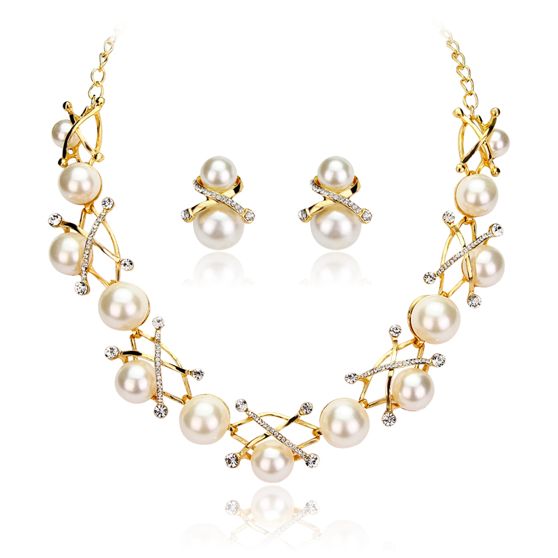Rhinestone Imitate Pearl Bridal Wedding Jewelry Sets Necklace and Earrings Set Party Gifts statement for women(China (Mainland))