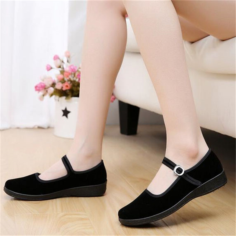 2017 Mary Janes Ladies Flats Buckle Strap Comfortable Women Shoes Round Toe Solid Casual Shoes Plus Size 34~41 Black WFS508(China (Mainland))